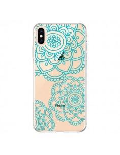 Coque iPhone XS Max Mandala Bleu Aqua Doodle Flower Transparente souple - Sylvia Cook