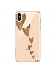 Coque iPhone XS Max Coeur Falling Gold Hearts Transparente souple - Sylvia Cook