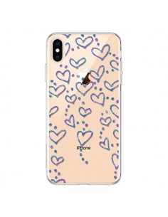 Coque iPhone XS Max Floating hearts coeurs flottants Transparente souple - Sylvia Cook