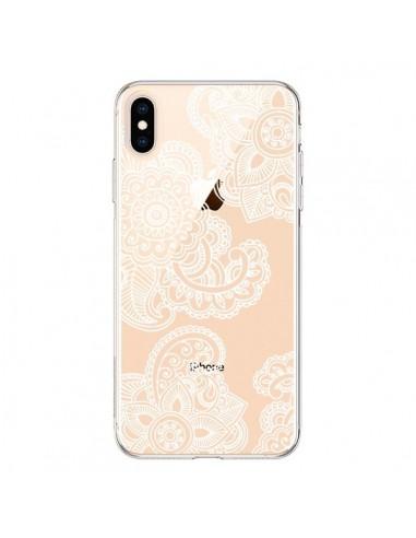 Coque iPhone XS Max Lacey Paisley Mandala Blanc Fleur Transparente souple - Sylvia Cook
