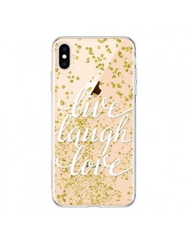 Coque iPhone XS Max Live, Laugh, Love, Vie, Ris, Aime Transparente souple - Sylvia Cook