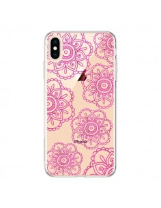 Coque iPhone XS Max Pink Doodle Flower Mandala Rose Fleur Transparente souple - Sylvia Cook