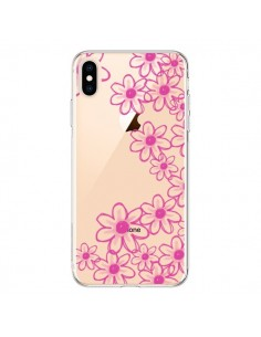 Coque iPhone XS Max Pink Flowers Fleurs Roses Transparente souple - Sylvia Cook