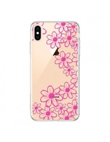 Coque iPhone XS Max Pink Flowers Fleurs Roses Transparente souple - Sylvia Cook