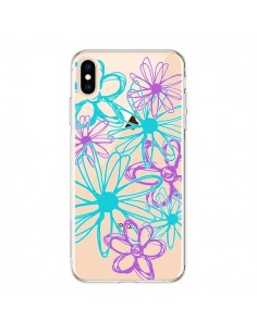 Coque iPhone XS Max Turquoise and Purple Flowers Fleurs Violettes Transparente souple - Sylvia Cook
