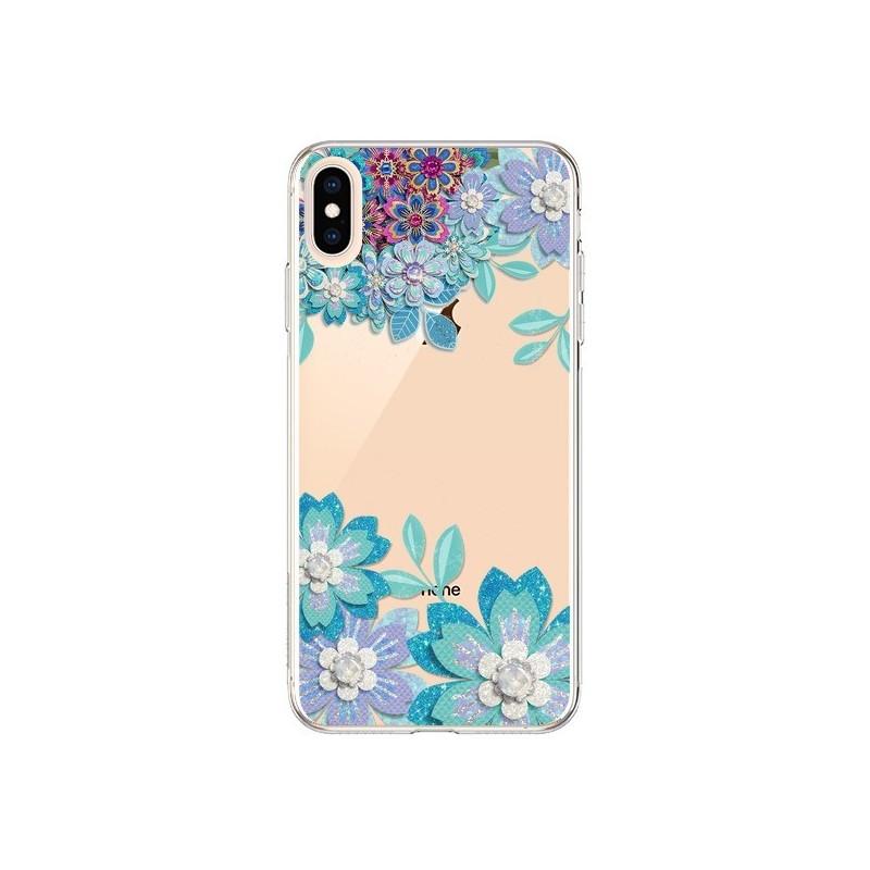 Coque iPhone XS Max Winter Flower Bleu, Fleurs d'Hiver Transparente souple - Sylvia Cook