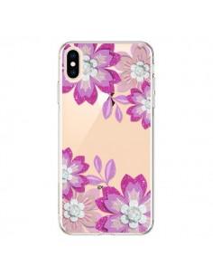 Coque iPhone XS Max Winter Flower Rose, Fleurs d'Hiver Transparente souple - Sylvia Cook