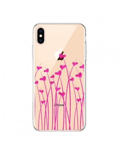 Coque iPhone XS Max Love in Pink Amour Rose Fleur Transparente souple - Sylvia Cook