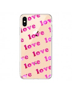 Coque iPhone XS Max Pink Love Rose Transparente souple - Sylvia Cook