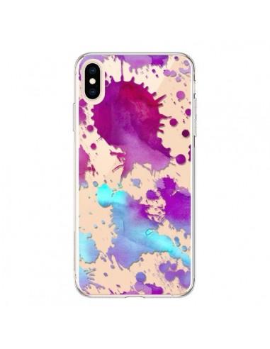 Coque iPhone XS Max Watercolor Splash Taches Bleu Violet Transparente souple - Sylvia Cook