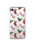 Coque iPhone XR Chaussette Sucre d'Orge Houx de Noël transparente - Nico