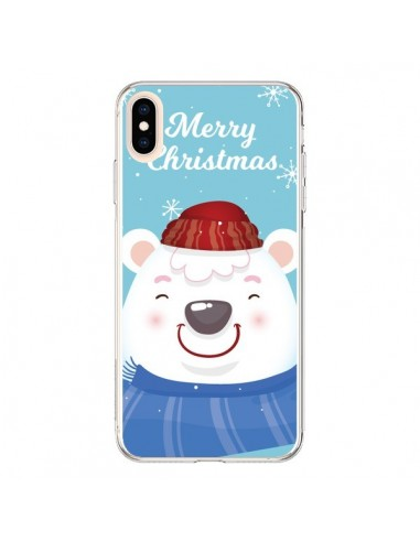 Coque iPhone XS Max Ours Blanc de Noël Merry Christmas - Nico