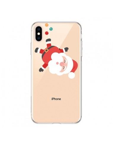 Coque iPhone XS Max Père Noël et sa Guirlande transparente - Nico