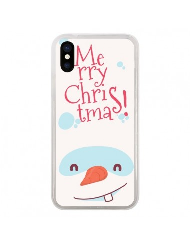 Coque iPhone X et XS Bonhomme de Neige Merry Christmas Noël - Nico