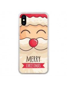 Coque iPhone X et XS Moustache du Père Noël Merry Christmas - Nico