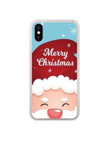 Coque iPhone X et XS Bonnet du Père Noël Merry Christmas - Nico