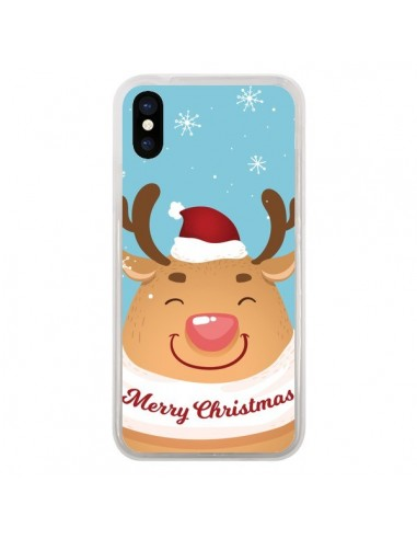 Coque iPhone X et XS Renne de Noël Merry Christmas - Nico