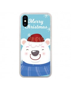 Coque iPhone X et XS Ours Blanc de Noël Merry Christmas - Nico