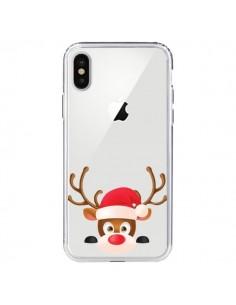 Coque iPhone X et XS Renne de Noël transparente - Nico