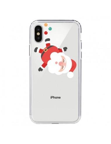 Coque iPhone X et XS Père Noël et sa Guirlande transparente - Nico