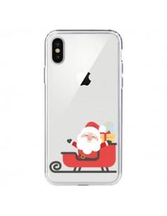 Coque iPhone X et XS Père Noël et son Traineau transparente - Nico