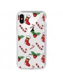 Coque iPhone X et XS Chaussette Sucre d'Orge Houx de Noël transparente - Nico