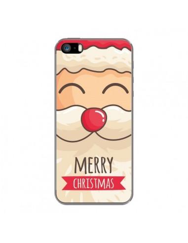 Coque iPhone 5 et 5S et SE Moustache du Père Noël Merry Christmas - Nico