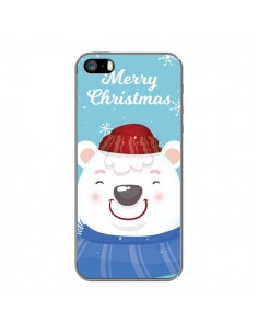 Coque iPhone 5 et 5S et SE Ours Blanc de Noël Merry Christmas - Nico