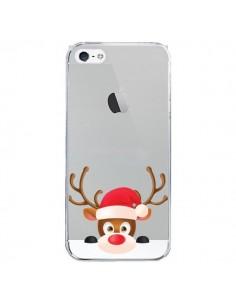 Coque iPhone 5 et 5S et SE Renne de Noël transparente - Nico