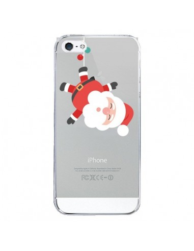 Coque iPhone 5 et 5S et SE Père Noël et sa Guirlande transparente - Nico
