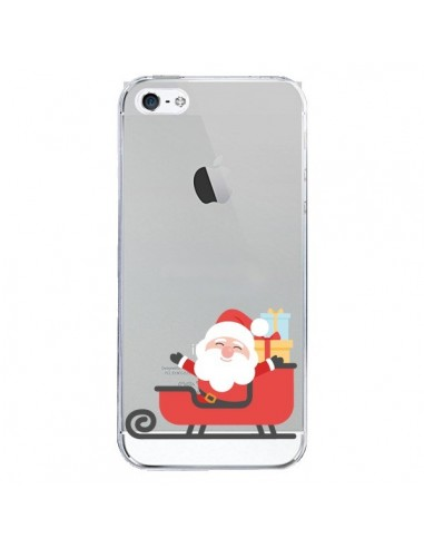 Coque iPhone 5 et 5S et SE Père Noël et son Traineau transparente - Nico