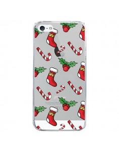 Coque iPhone 5 et 5S et SE Chaussette Sucre d'Orge Houx de Noël transparente - Nico