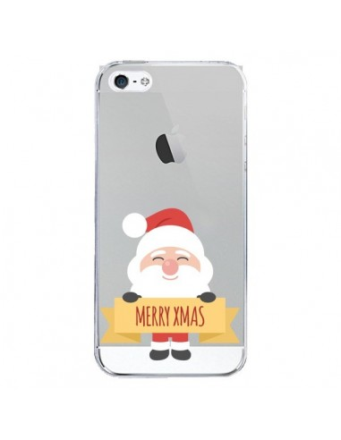 Coque iPhone 5 et 5S et SE Père Noël Merry Christmas transparente - Nico
