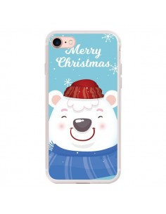 Coque iPhone 7 et 8 Ours Blanc de Noël Merry Christmas - Nico
