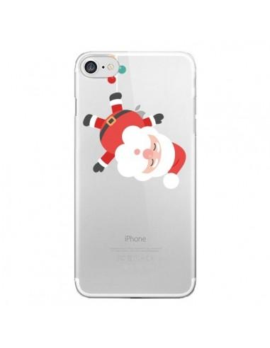 Coque iPhone 7 et 8 Père Noël et sa Guirlande transparente - Nico