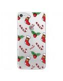 Coque iPhone 7 et 8 Chaussette Sucre d'Orge Houx de Noël transparente - Nico