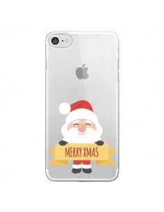 Coque iPhone 7 et 8 Père Noël Merry Christmas transparente - Nico