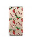 Coque iPhone 6 et 6S Chaussette Sucre d'Orge Houx de Noël transparente - Nico