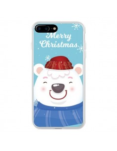 Coque iPhone 7 Plus et 8 Plus Ours Blanc de Noël Merry Christmas - Nico