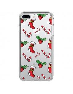 Coque iPhone 7 Plus et 8 Plus Chaussette Sucre d'Orge Houx de Noël transparente - Nico
