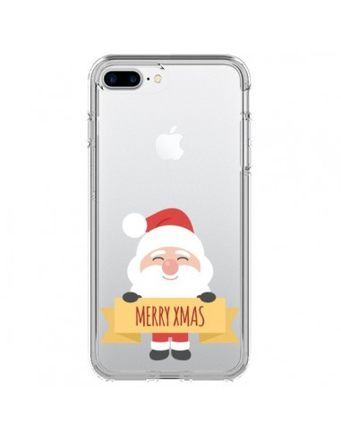 Coque iPhone 7 Plus et 8 Plus Père Noël Merry Christmas transparente - Nico