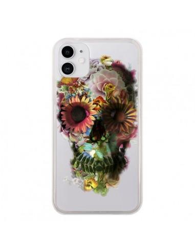 Coque iPhone 11 Skull Flower Tête de Mort Transparente - Ali Gulec