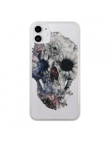 Coque iPhone 11 Floral Skull Tête de Mort Transparente - Ali Gulec