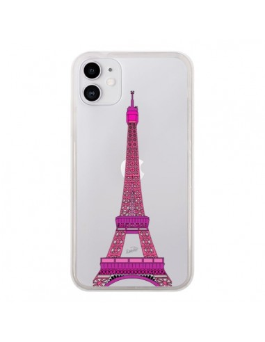 Coque iPhone 11 Tour Eiffel Rose Paris Transparente - Asano Yamazaki
