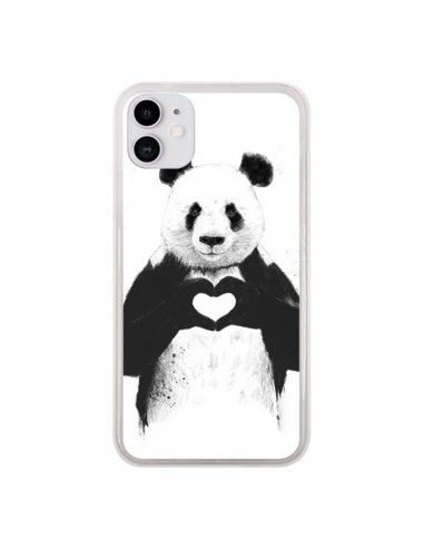 Coque iPhone 11 Panda Amour All you need is love - Balazs Solti