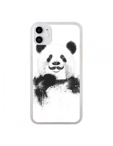 Coque iPhone 11 Funny Panda Moustache Movember - Balazs Solti