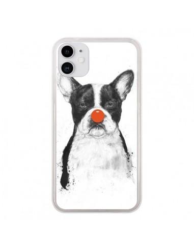 Coque iPhone 11 Clown Bulldog Chien Dog - Balazs Solti