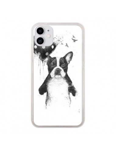 Coque iPhone 11 Lover Bulldog Chien Dog My Heart Goes Boom - Balazs Solti