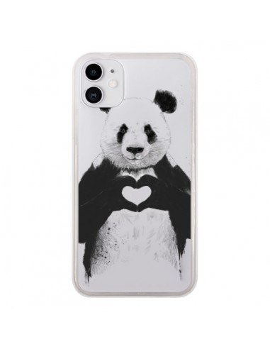 Coque iPhone 11 Panda All You Need Is Love Transparente - Balazs Solti