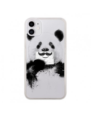 Coque iPhone 11 Funny Panda Moustache Transparente - Balazs Solti